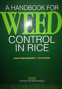 A handbook for Weed Control in Rice by Kwesi Ampong-Nyarko and S.K. De Datta. IRRI  1991; 113p. This book covers significance of weeds in rice farming, rice weeds of world importance, weed control, principles of herbicide use, principal rice herbicides, weed control in irrigated rice, weed control in rainfed lowland rice, weed control in upland rice, weed control in deepwater and floating rice and management of some difficult weeds.